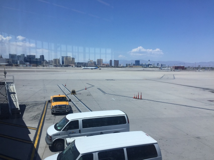 Skyline of Las Vegas from the airport.