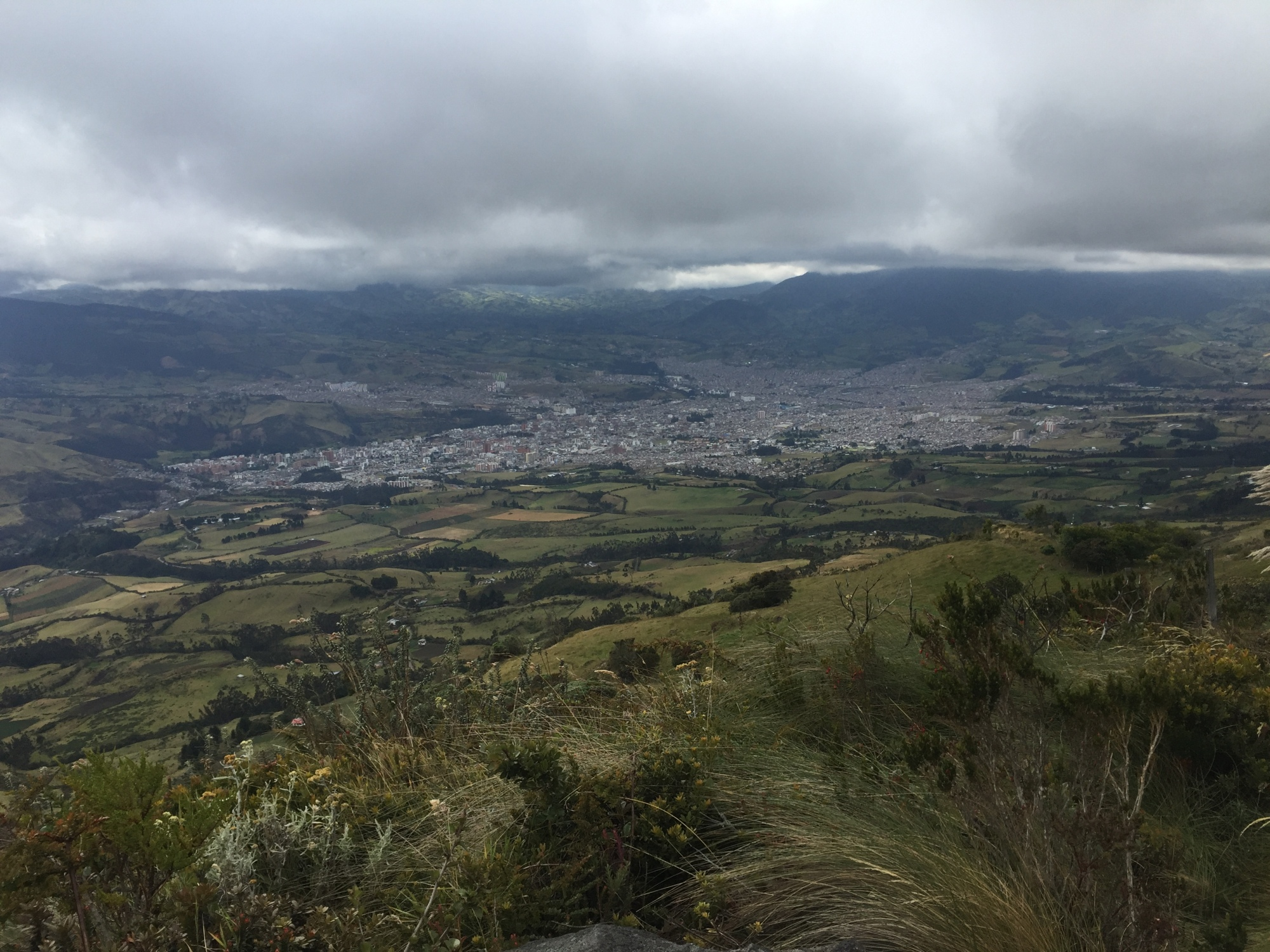 Pasto, Nariño, Colombia, as seen from vólcan galeras